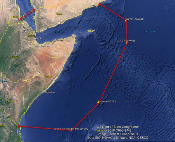 Zona de riesgo de piratería junto al Cuerno de África