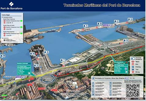 Mapa de la ubicación de las terminales de pasajeros en el Puerto de Barcelona